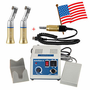 Usa Dental Lab Marathon Micro Motor 35k Rpm 2x Contra Angle Handpieces Gold