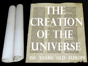 Rare Bible Manuscript Vellum Leaf 150 Years Old The Creation Of The Universe