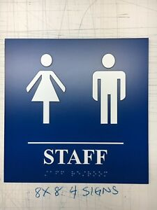 Restroom Sign Ada Compliant W braille Blue Public Accommodations Facilit