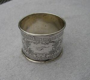 Antique German 13 Loth Silver Large Napkin Ring Greek Key Pattern Nr