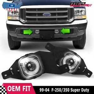 For Ford F series 99 04 Factory Replacement Halo Projector Fog Light Clear Lens