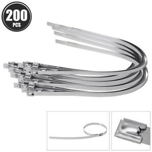 200 Pcs 23 6 Self Locking Tie Stainless Steel Cable Zip Ties Header Wrap Straps