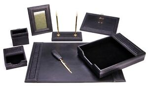 Majestic Goods 8 Piece Black Leather Desk Set