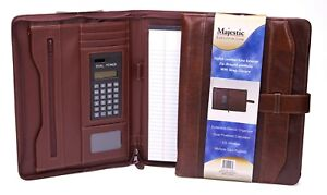 Majestic Goods Executive Brown Leather Portfolio With Strap Closure