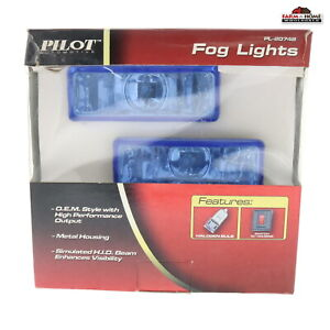 Pilot Rectangular Blue Lens Fog Driving Light Kit 4pc New