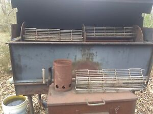 Belson Rotisserie Smoker 60 Commercial Modified Fire Box Castors Dual Stack