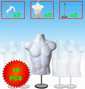 5 pack Male Mannequin Form Hanger Stand torso Dress Body Display Shirt White