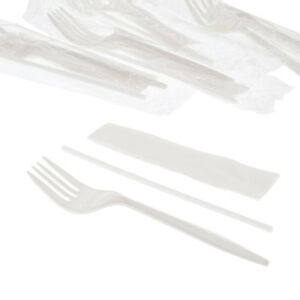 Medium Weight White Plastic Cutlery Kit With Fork Straw Napkin Case Of 1000