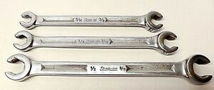Snap On 3 Piece 6 Point Open End Flare Nut Wrench Set