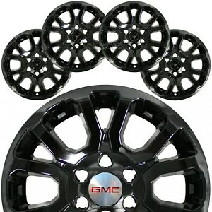 4 Black 2014 19 Gmc Sierra 1500 Yukon 18 Wheel Skins Hub Caps Alloy Rim Covers