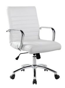 Realbiz Mid back Ribbed Faux Leather Office Chair Pure White