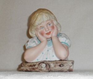 Gebruder Heubach Bisque Porcelain Large Piano Baby Girl Bust Germany