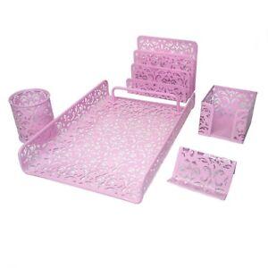 Majestic Goods 5 Pieces Pink Flower Designed Punched Metal Mesh Desk Set