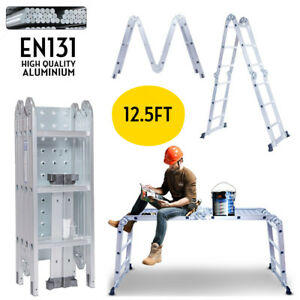 12 5ft En131 Multi Purpose Step Platform Aluminum Folding Scaffold Ladder 330lb