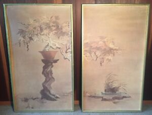 Vintage Japanese Tree Painting Lithograph Gold Gilded Frame Large Set Of 2