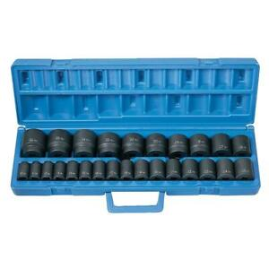 26 Pc 1 2 Drive Metric Impact Socket Set Grey Pneumatic Gry1326m