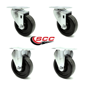 Service Caster 4 Phenolic Wheel 2 Swivel And 2 Rigid Casters Set Of 4