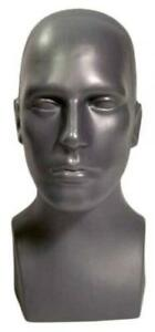 15 Tall Male Mannequin Head Durable Plastic Grey 50013