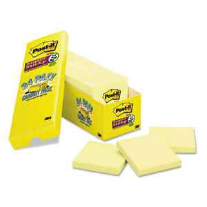 Post it Notes Super Sticky Canary Yellow Note Pads 3x3 90 sht 24pk