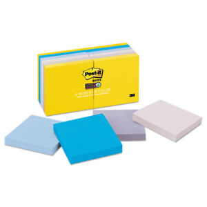 Post it Notes Super Sticky Pads New York Colors 3x3 90 shts pad 12 Pads pk