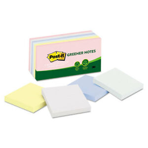 Post it Greener Notes Recycled 3x3 Assorted Helsinki Colors 100 sht 12pk