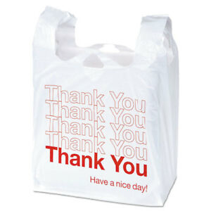 Plastic thank You Shopping Bags 11 1 2x6x22 0 55 Mil White red 1000 bx