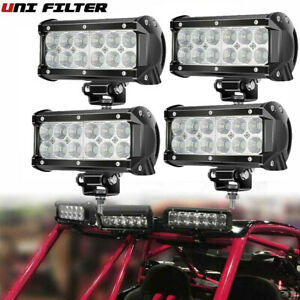 Pair 7 Inch 72w Led Work Light Bar Spot Flood Suv Boat Driving Lamp Offroad 4wd