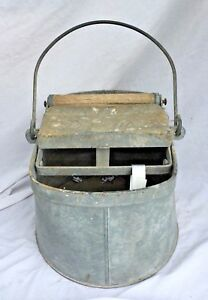 Vintage Antique De Luxe Metal Mop Bucket Wringer Deluxe Galvanized Wood Rollers