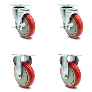 Service Caster 5 Red Poly Wheel 2 Rigid And 2 Swivel Casters W brakes