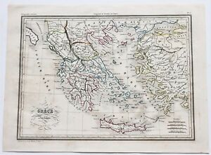 1846 Ancient Greece Map Asia Minor Crete Sparta Thracia Original Antique Rare