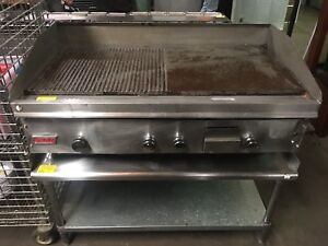 Awesome Lang 48 Gas Half Grooved Griddle