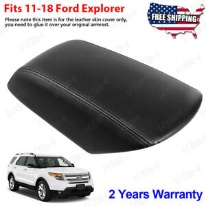 Fits 2011 2018 Ford Explorer Leather Center Console Lid Armrest Cover Skin Black