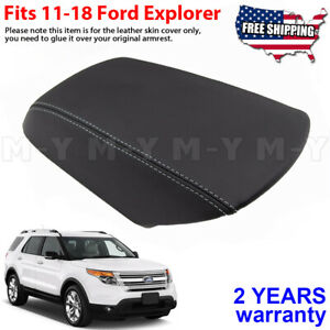 Fits 2011 2018 Ford Explorer Black Leather Console Lid Armrest Cover Gray Stitch