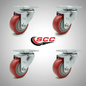 Service Caster 3 Poly Wheel 4 Stainless Swivel Casters Set Of 4