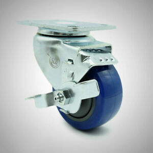 Service Caster 3 Poly Wheel Stainless Swivel Caster W brake