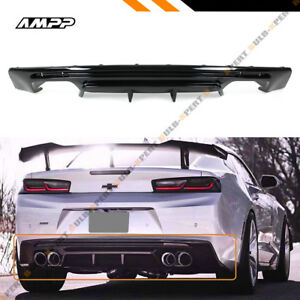 For 16 19 Chevy Camaro Lt Ss Rs Painted Gloss Blk Shark Fin Rear Bumper Diffuser