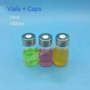 100 Pcs 10 Ml Vials Screw Cap Clear Glass Bottles Hplc Gc Sample High Quality
