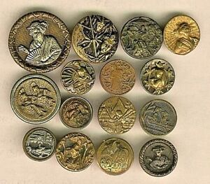 15 Victorian Oriental Metal Picture Buttons