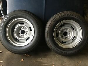 2 Vintage Oem Corvette 15 X 8 Rally Rims And Tires