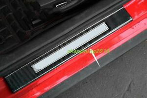Carbon Fiber Welcome Pedal Door Sill Scuff Panel For Ford Mustang 15 17 2018