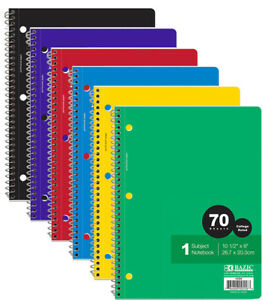 Bazic College Ruled 70 Ct 1 subject Spiral Notebook Case Of 24