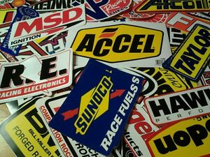 Lot Of 25 Drag Racing Decals Stickers Nhra Nascar Chevy Mopar Hot Rod Ford