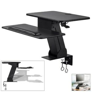 Sit Stand Height Adjustable Desk Workstation Clamp on Mount Laptop Monitor
