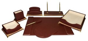 Majestic Goods burgundy And Gold executive Office Desk Set