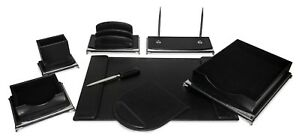 Majestic Goods 8 Piece Black And Silver Executive Office Desk Set