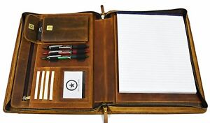 Zippered Genuine Leather Business Portfolio Easy To Carry Organizer With Pad