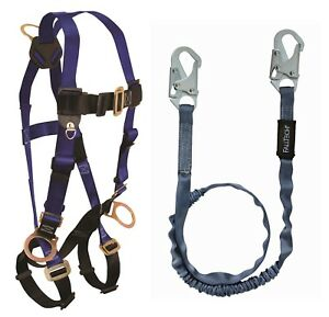 Falltech Safety Harness Kit 7017 Unifit 3 D rings W 6 Ft Lanyard Combo 1 Each