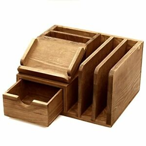 Rustic Wood Desk Accessory Storage Organizer Mail Sorter Note Memo Pad Holder