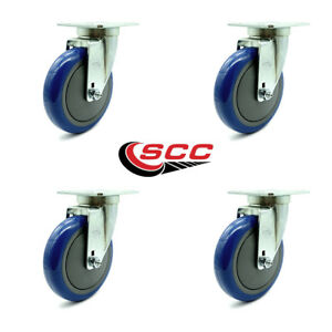 Service Caster Universal Kitchen Casters 5 Blue Poly Wheel 4 S