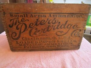 Vintage Peters Cartridge Co Wood Ammunition Finger Jointed Shipping Box